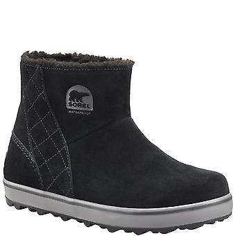 Womens Sorel Glacy Short Waterproof Suede Black Snow Winter Ankle Boots