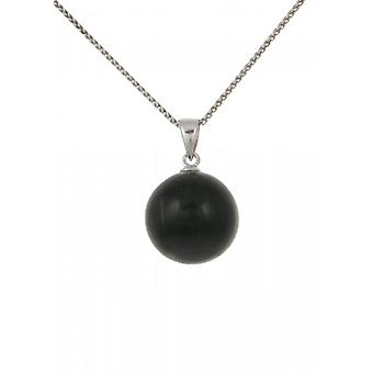 Cavendish French Sterling Silver and Black Cats Eye Ball Pendant without Chain