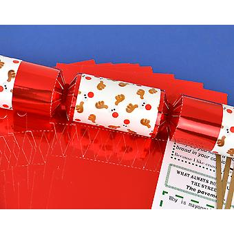 8 Red Foil Funky Rudolph Reindeer Make & Fill Your Own Christmas Crackers Kit