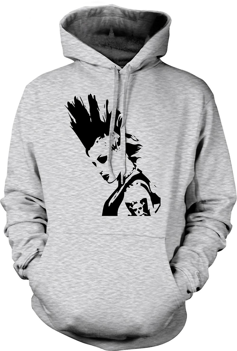 Mens Hoodie - Punk Rocker Mohican Girl - BW - Pop Art