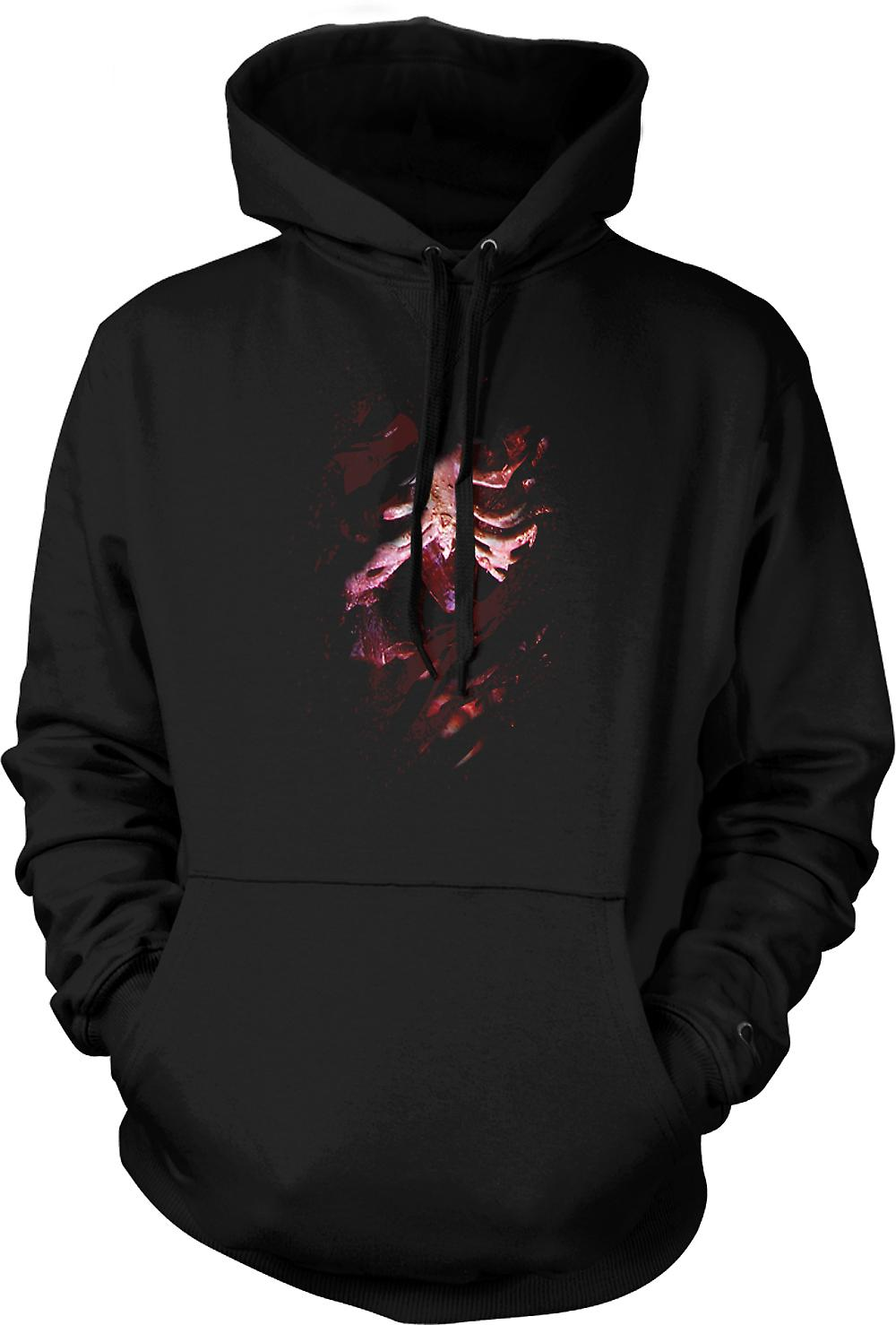 Mens Hoodie - Zombie Skeleton Undead  Heart Ripped Design