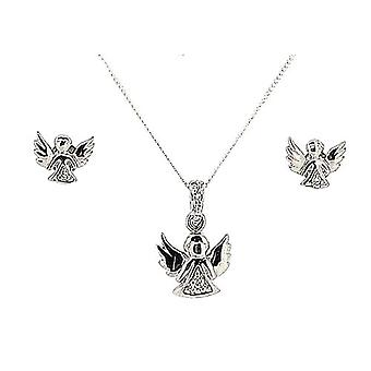 TOC Sterling Silver CZ Set Guardian Angel Earring & Pendant Necklace 14