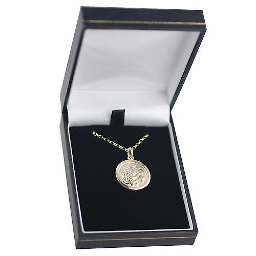 9ct Gold 20mm round St Christopher Pendant with belcher Chain 16 inches Only Suitable for Children