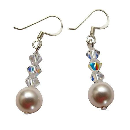 White Swarovski Pearls AB Crystals Cute Silver 92.5 Earrings