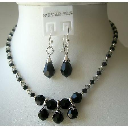 Custom Handcrafted Jewelry Swarovski Jet Crystals w/ Silver Earrings
