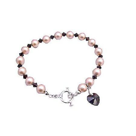Champagne Pearls Swarovski Garnet Crystals w/ Siam Red Heart Dangling Bracelet Genuine Swarovski Pearls & Crystal
