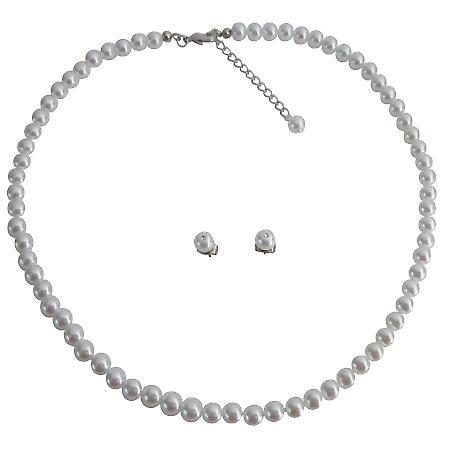 Junior Bridesmaid Jewelry Sleek Gorgeous White Pearls Jewelry Set