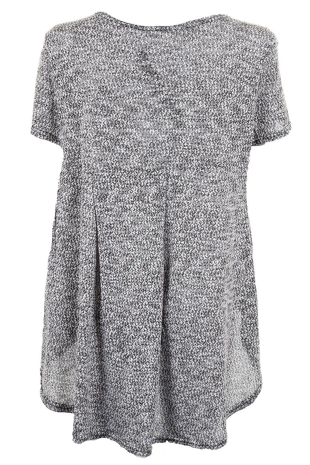 Ladies High Low Baggy Short Sleeve Textured  Grey Flare Women's Top