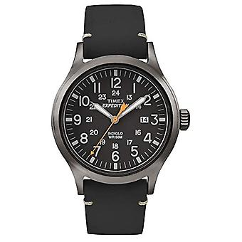 Timex TW4B01900 wrist watch, men's analogue dial, black leather strap, smoke/black