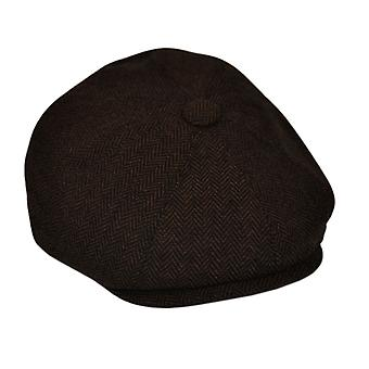 G&H Brown Herringbone Newsboy Cap 58cm