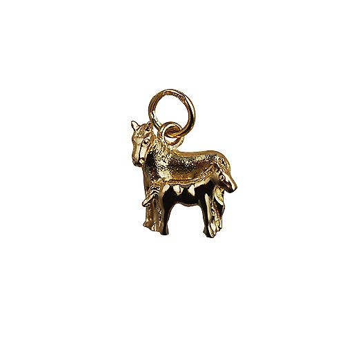9ct Gold 13x13mm Horse and Foal Pendant or Charm