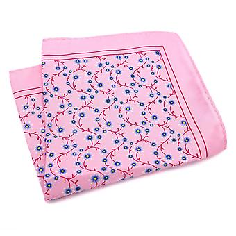 Pink & red daisy pattern large 33cm men pocket square