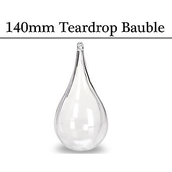 Single 140mm Fillable Two Part Clear Plastic Teardrop Christmas Bauble