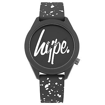 Hype grijs en wit spikkel script horloge