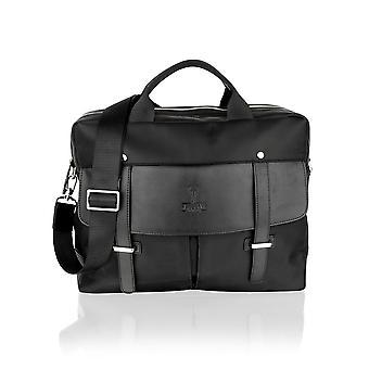 Black Fabric Leather Trim Tote Bag 14.0