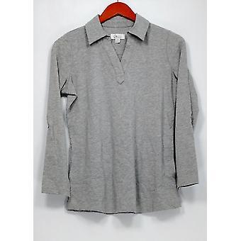Denim & Co. Petite Top XXSP Active Roll-Tab Sleeve Heather Gray A258025