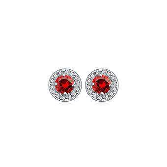 Rhodium-plated Circle Earrings and White and Red Cubic Zirconia