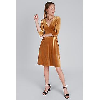 Louche Cynthia Velvet Dress Gold