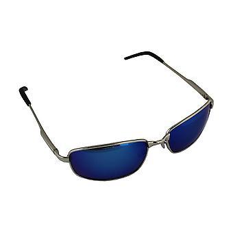 Sonnenbrille Sport Rechteck polarisierendes Glas Silber blau free BrillenkokerS305_2