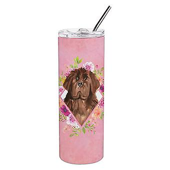 Newfoundland Pink Flowers Double Walled Stainless Steel 20 oz Skinny Tumbler