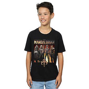 Star Wars Boys Mandalorian karakter lineup T-skjorte