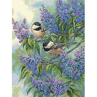 Gold Collection Chickadees & Lilacs Counted Cross Stitch Kit 12