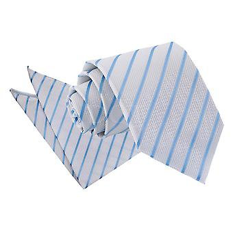 Men's Single Stripe White & Baby Blue Tie 2 pc. Set