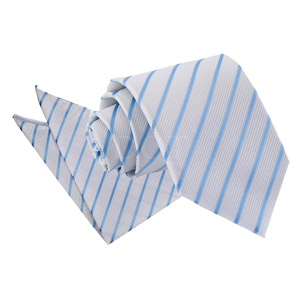 Single Stripe White & Baby Blue Tie 2 pc. Set