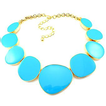 Kenneth Jay Lane Gold and Turquoise Blue Enamel Flat Odd Shape Necklace