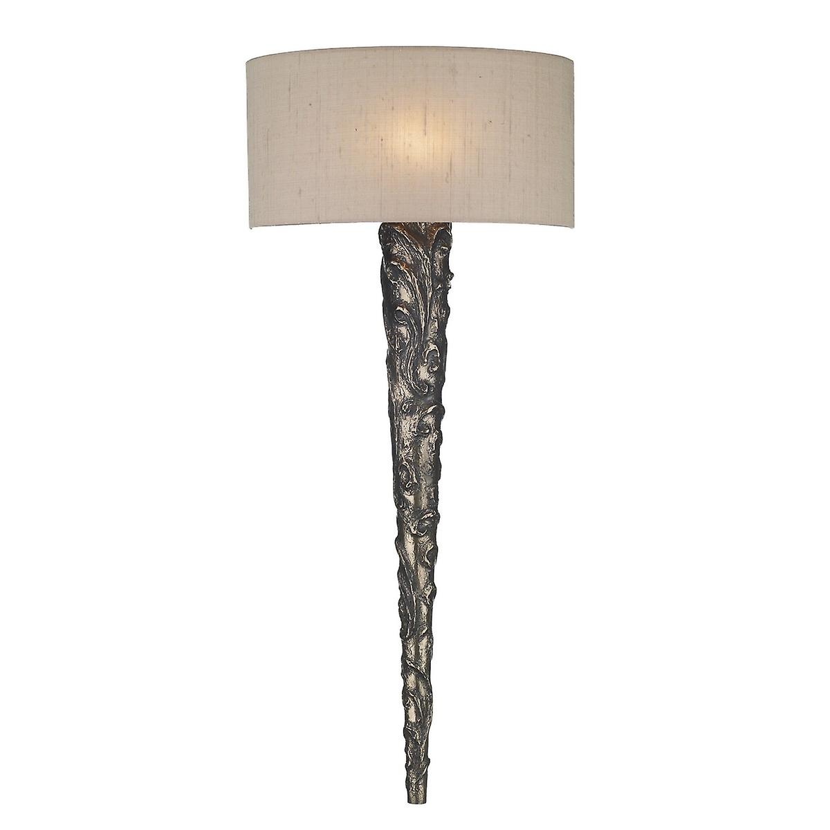 David Hunt KNU0763 Knurl Wall Light In Bronze With A Silk Shade - 12 Colours Available
