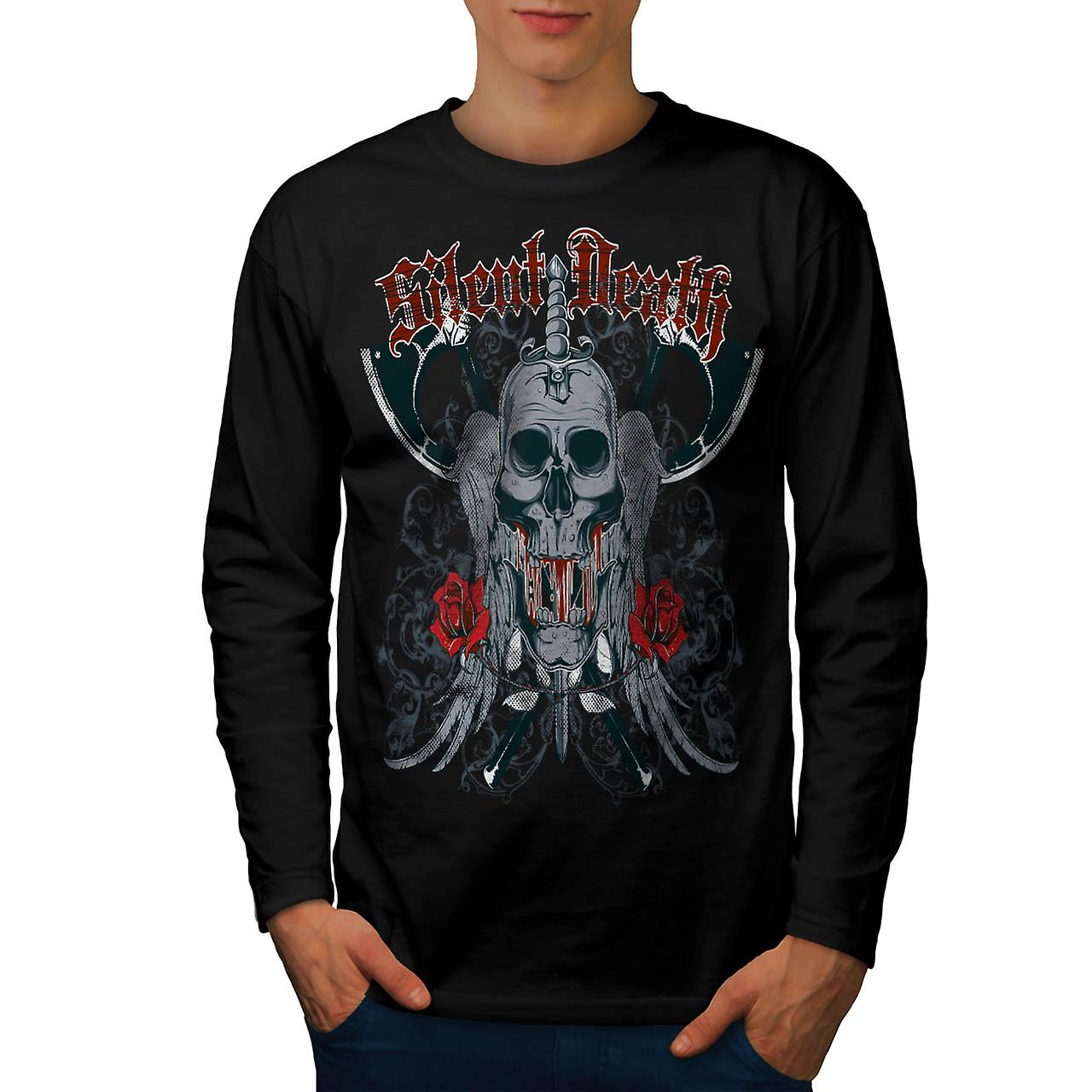 Silent Death Horror Skull Rage Men Black Long Sleeve T-shirt | Wellcoda