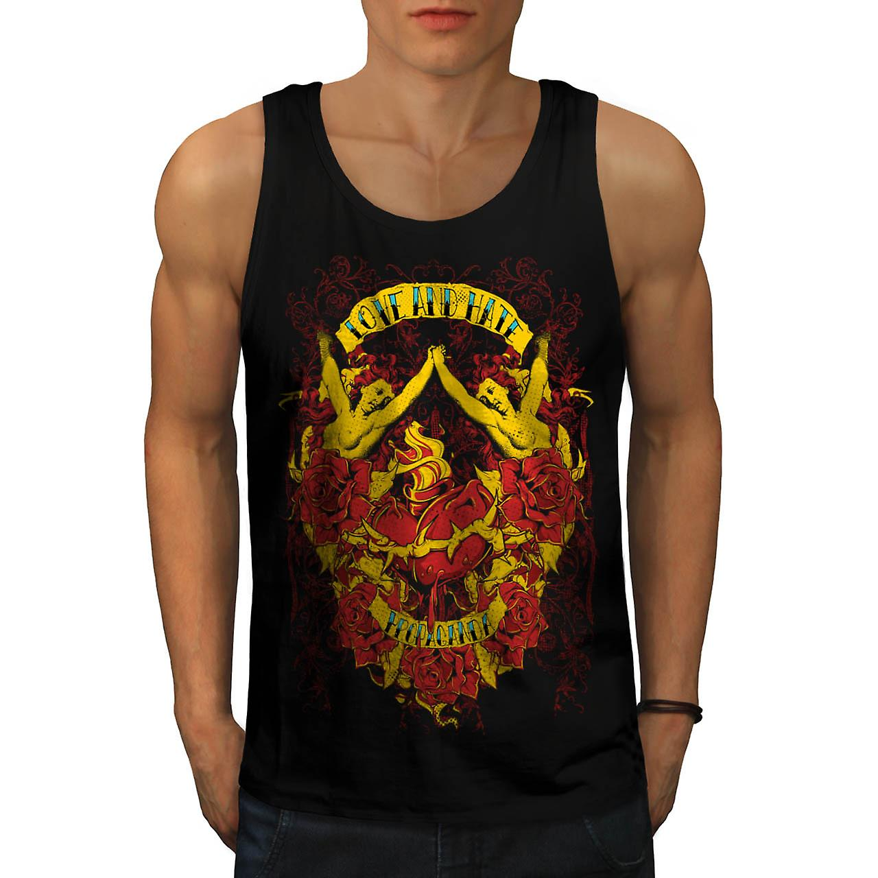 Love And Hate Angels Propaganda Men Black Tank Top | Wellcoda