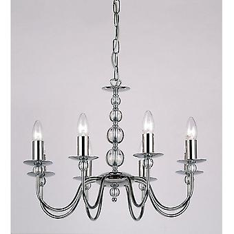 Endon 2013-8CH 8 Light Chandelier In Chrome And Glass