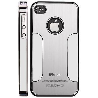 Metallen borstad aluminium locket och plast chrome-iPhone 4/4S (Silver)