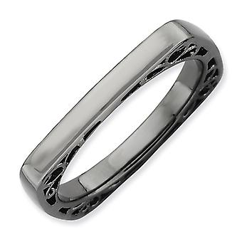 2.25mm Sterling Silver Stackable Expressions Polished Black-plate Square Ring - Ring Size: 5 to 10