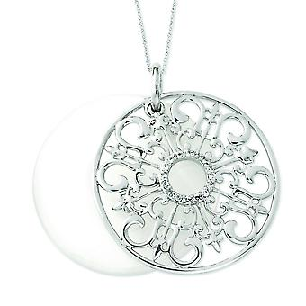Sterling Silver CZ and Simulated Cats Eye Be a Blessing 18inch Necklace