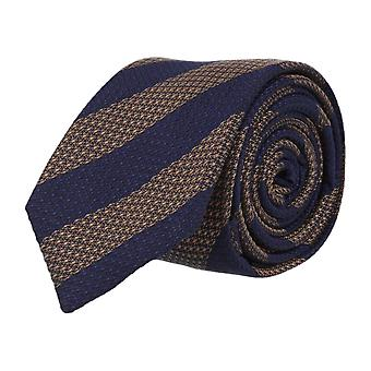 OTTO KERN narrow silk tie necktie silk beige dark blue striped