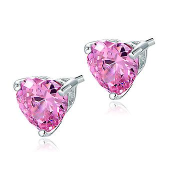 925 Sterling Silver 4 Carats Pink Simulated Diamond Heart Studs