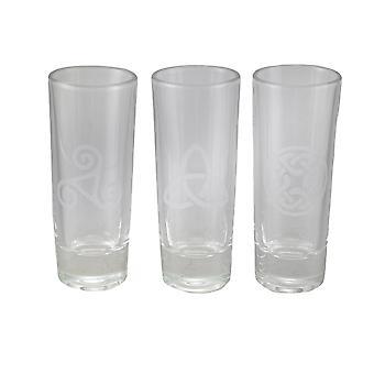 Sett med 3 keltiske stil etset Glass kunst høy Shot glass