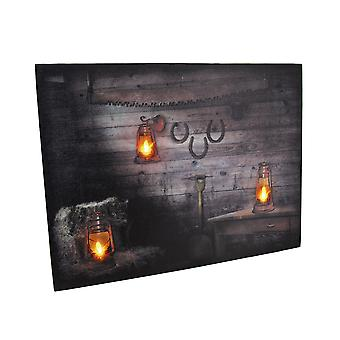 Rustic Lanterns On Wood Wall Rustic LED Lighted Canvas Wall Hanging