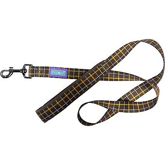 Dog & Co Nylon Lead Padded Handle Luxury Brown Check 3/4
