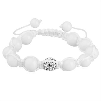 Bling Shamballa unisex bracelet - white PAVE ball ONE