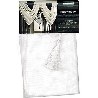 Country Club Single Plain Voile Swag, White 56cm x 45cm