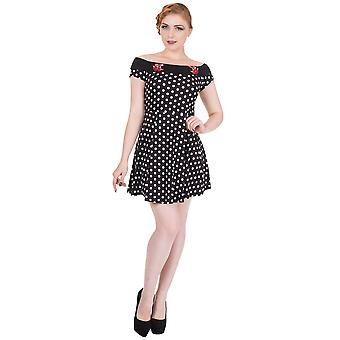 Banned - REVERLY MINI DRESS - Women's Polka Dot Cherry Embroidery Mini