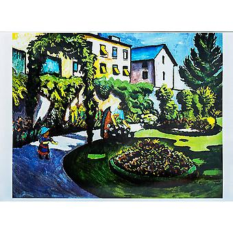 August Macke - House by Lake Poster Print Giclee