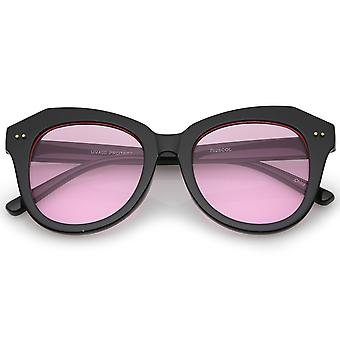 Women's Oversize Horn Rimmed Colored Round Lens Cat Eye Sunglasses 52mm