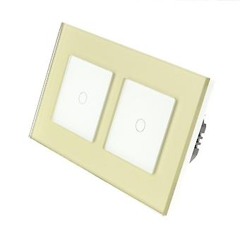 I LumoS Gold Glass Double Frame 2 Gang 2 Way Remote & Dimmer Touch LED Light Switch White Insert