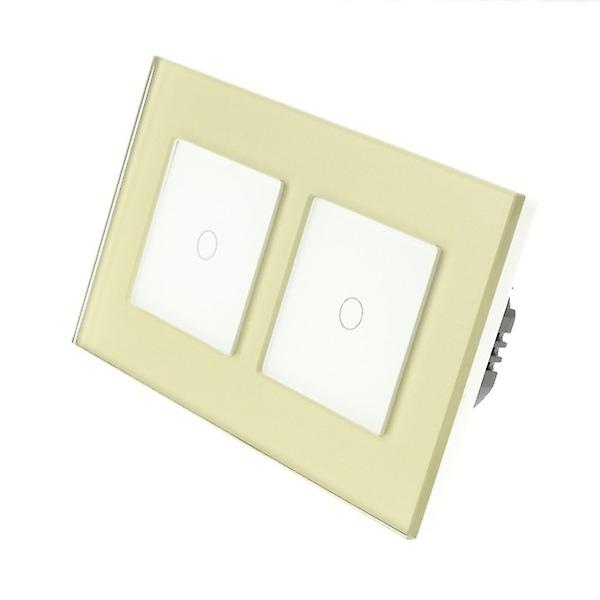 I LumoS or Glass Double Frame 2 Gang 1 Way WIFI 4G Remote Touch LED lumière Switch blanc Insert