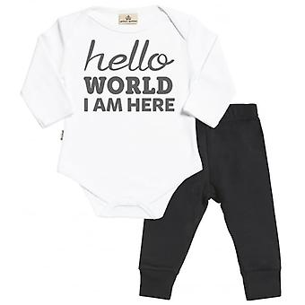 Spoilt Rotten Hello World I Am Here Babygrow & Jersey Trousers Outfit Set