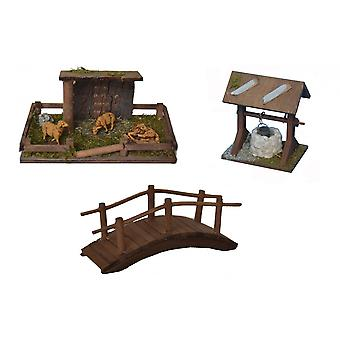 Nativity accessories stable Nativity set sheep shelter bridge fountain